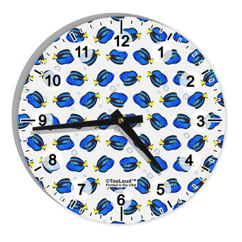 "Blue Tang Fish AOP 8"" Round Wall Clock with Numbers All Over Print"