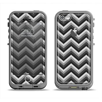 The Sharp Layered Black & Gray Chevron Pattern Apple iPhone 5c LifeProof Fre Case Skin Set