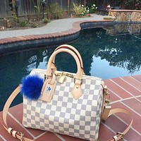 Free Shipping-LV Tide brand men and women wild handbag travel bag White Check