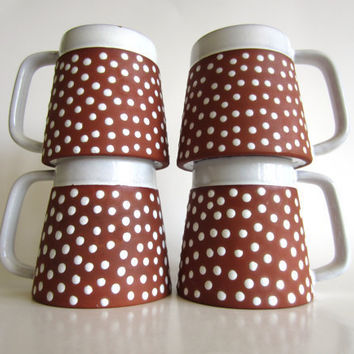 Zeuthen Denmark Mugs Redware with White Polka Dots Set of 4 Rare Mid Century Modern Scandinavian Pottery Coffee Cups