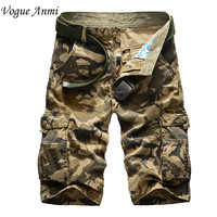Brand men's casual camouflage loose cargo shorts men large size multi-pocket military short pants overalls 30-40 42 44