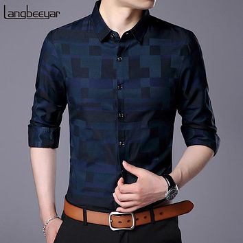 2019 Fashion Brand Shirt For Men Button Up Plaid Korean Slim Fit Streetwear Long Sleeve Checkered Dress Shirt Mens Clothing