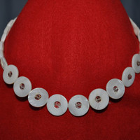 Mother-of-pearl and crystal choker-style necklace