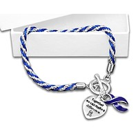 Child Abuse Awareness Dark Blue Ribbon Bracelet - Rope