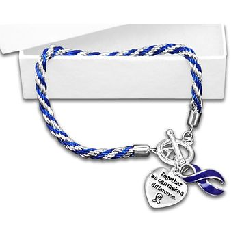 Cancer Awareness Dark Blue Ribbon Bracelet - Rope