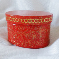 Red And Gold Box - Art Trinket Box - Red Handmade Box -  Jewelry Box - OOAK Box - Keepsake Box - Handmade Jewelry Box - Unique Gifts