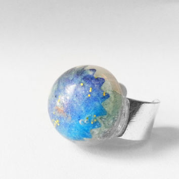 Space Ring, Outer Space Ring, Blue Space Ring, Glow in the Dark Ring, Glow Jewelry, Glow in the Dark Space Jewelry, Blue Comet Ring, Blue