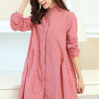 Red Plaid Long Sleeve Button Down Dress