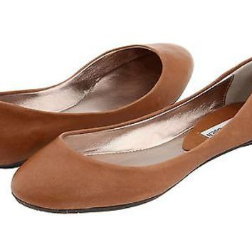 STEVE MADDEN Heaven BROWN Flats Ballet Shoes Womens Leather Cognac New NIB