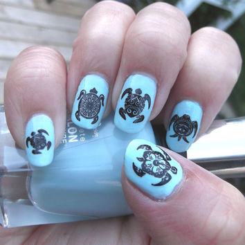 Free Shipping - 48 Black TRIBAL TURTLES Nail Art (TTB) Water Slide Transfer Decals Not Stickers or Vinyl Turtle Collector
