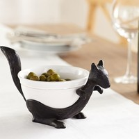 FIGURAL SQUIRREL SERVE BOWL & STAND