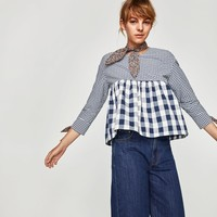 CONTRAST TOP WITH BOW