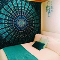 Boho Hippie Mandala Black/Blue Green Tapestry Bedspread,  Beach Throw, Yoga Mat,  Home Decor 150*130c Polyester