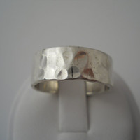 Sterling Silver 925 Large Hammered Mens Ring Size 10.5 Wide Thumb Mexico 925