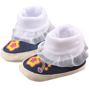 CUPUP9G winter baby shoes Cotton Cloth kids boy girl first walker Denim Toddler Infant Girl Snow Boots Soft Sole prewalker Crib footwear