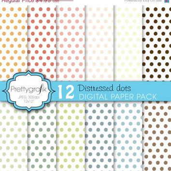 60% OFF SALE distressed polka dots digital paper pack, commercial use, scrapbook papers, anchors, nauticalsc - PS627