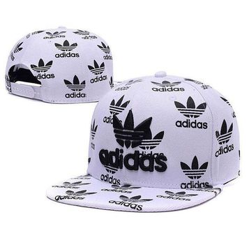 ESBONG6 Embroidered Adidas Snapback Adjustable Flat Cap White Black: One Size Fits Most