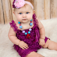 Lace Ruffle Baby Romper Plum Purple