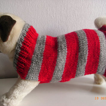 "Hand knit pug dog sweater / coat 12"" dog sweater, pug dog clothing, dog clothing, dog coat, pug clothes, pug sweater, pug dog coat"