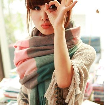 Scarf Women Plaid Thick Shawls  Scarves