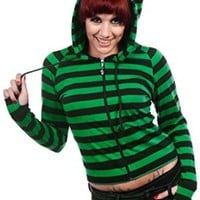 Banned Gothic Emo Funky Striped Cat Ears Light Weight Hoodies