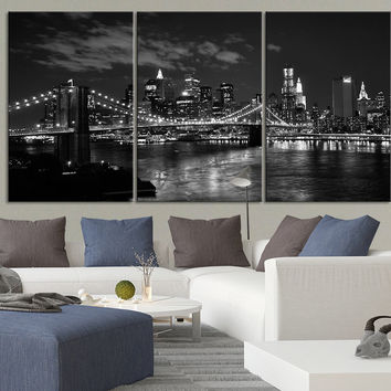 LARGE Wall Art Canvas Print Brooklyn Bridge and New York City Skyline Black White - 3 Panel Triptych New York Canvas Art Large Wall Art - MC20