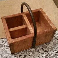 Vintage Silverware Caddy, Wrought Iron and Wood Box, Art Caddy, Condiment Caddy, Vintage Silverware Box, Wood Box, Wood Caddy, Rustic Caddy