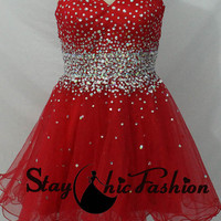 Jeweled Waist Red Short Strapless Sequined A Line Princess Prom Dress