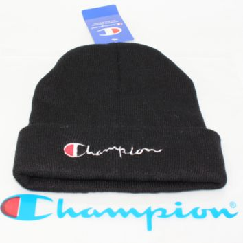 Champion male and female alphabet embroidery knit couple student woolen cap Black