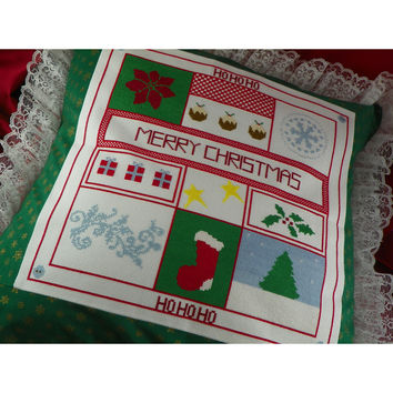 Cross Stitch Embroidered Christmas Throw Pillow - Handmade