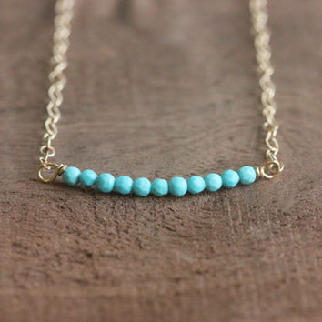 Bead bar necklace, Turquoise necklace, gold chain necklace, delicate necklace, gemstone necklace, birthstone necklace, best friend gift