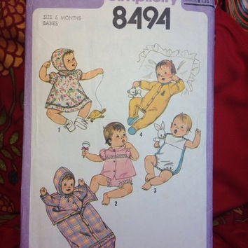 Multiple Baby Outfits Pattern Simplicity 8494 Cut- Vintage 1970's