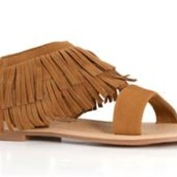 Blossom Footwear Pinky Fringe Sandals in Tan