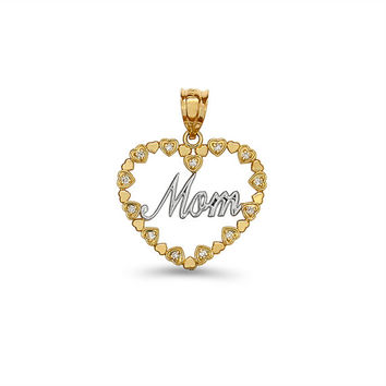 14k solid gold two tone diamond Mom Heart Pendant.