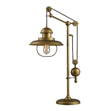 Farmhouse Table Lamp In Antique Brass With Matching Metal Shade Antique Brass