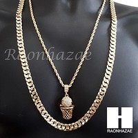"BASKETBALL ROPE CHAIN DIAMOND CUT 30"" CUBAN LINK CHAIN NECKLACE S60"