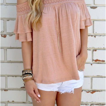 Pink Off Shoulder Flounced Sleeve T-Shirt with Lace