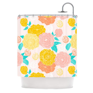 "Anneline Sophia ""Peonies Peach"" Yellow Pink Shower Curtain"