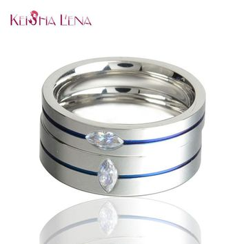 Keisha Lena 2016 Fashion Thin Blue Line Titanium Ring Wedding Brand 4MM/6MM BLUE Rings for Men Jewelry