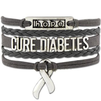 Hope Cure Diabetes Awareness Ribbon Gray Charm Leather Wrap Jewelry