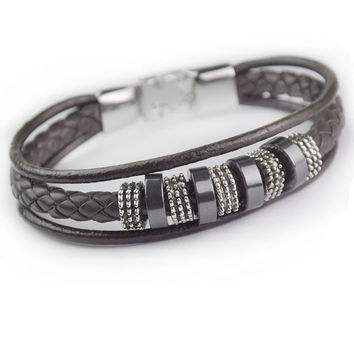 Stylish Shiny Gift Awesome Great Deal New Arrival Hot Sale Men Leather Accessory Ring Cool Bracelet [6526750083]