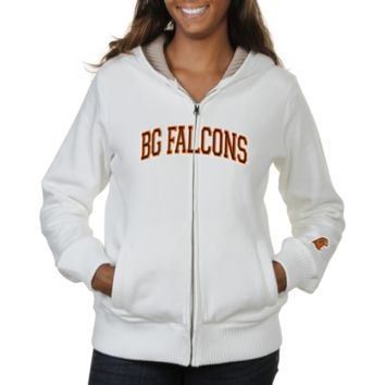 Bowling Green State Falcons Ladies Huddle Full Zip Sherpa-Lined Hooded Jacket - White