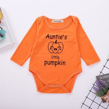 Baby Bodysuit Onesuit Tiny Cottons Halloween Auntie Little Pumpkin Funny Newborn Infant Boy Clothing Baby Girl Clothes