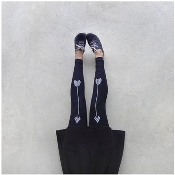 Artemis - womens leggings - S/M/L - chevron arrow print on jet black jersey spandex - high waisted leggings - boho fashion