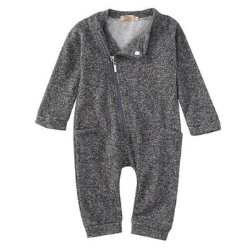 Baby Rompers 2016 New Newborn Baby Boys Clothing Long Sleeve Cotton Infant Romper One-Pieces Zipper Jumpsuit Clothes
