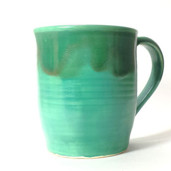 Green Handmade Ceramic Pottery Mug,16 oz. Coffee Mug,Beer Mug,creaft beer mug,Ready to Ship,matte and glossy glazes,large pottery mug