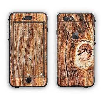 The Knobby Raw Wood Apple iPhone 6 LifeProof Nuud Case Skin Set