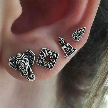 4pcs/Set Antique Silver Color Sakyamuni Square Leaf Elephant Earrings for Women Punk Jewelry Small Stud Earrings Christmas Gift