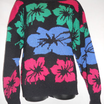 Vintage 80s Hibiscus Print Ugly Cosby Knit Sweater All Over Print Funky Wild Rainbow Blue Magenta Green bright Hawaii Kawaii Decora