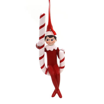 Holiday Ornaments Elf On Shelf Candy Cane Swing Resin Ornament